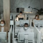 Employees working from office